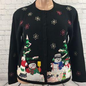 ASHLYN KATE Snowmen Xmas Sweater Cardigan sz 1X